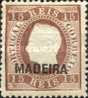 [King Luis I - Portuguese Postage Stamps Overprinted, MADEIRA, Typ B9]
