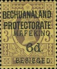 """[British Bechuanaland Postage Stamps Surcharged & Overprinted """"MEFAKING BESIEGED."""", type B5]"""
