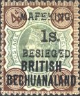 """[British Bechuanaland Postage Stamps Surcharged & Overprinted """"MEFAKING BESIEGED."""", type B7]"""