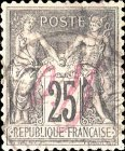 [French Postage Stamps Manuscript Surcharged, type A]