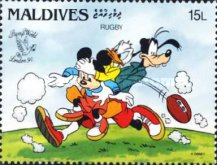 "[International Stamp Exhibition ""Stamp World London '90"" - London, England - Walt Disney Cartoon Characters Playing British Sports, type BBN]"