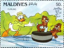 "[International Stamp Exhibition ""Stamp World London '90"" - London, England - Walt Disney Cartoon Characters Playing British Sports, type BBO]"