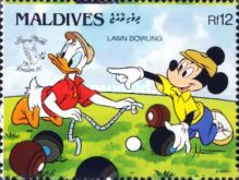"[International Stamp Exhibition ""Stamp World London '90"" - London, England - Walt Disney Cartoon Characters Playing British Sports, type BBU]"