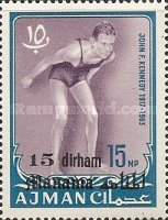 [John F Kennedy - Ajman Postage Stamps of 1966 Surcharged, type B1]