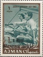 [John F Kennedy - Ajman Postage Stamps of 1966 Surcharged, type B2]