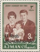 [John F Kennedy - Ajman Postage Stamps of 1966 Surcharged, type B4]
