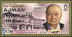 [Winston Churchill - Ajman Postage Stamps of 1966 Surcharged, type D]
