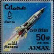 [Airmail - Space Achievements  - Ajman Postage Stamps of 1966 Surcharged, type E]