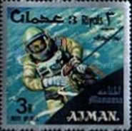 [Airmail - Space Achievements  - Ajman Postage Stamps of 1966 Surcharged, type E2]