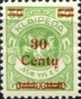 [No. 141-146, 148 & 150 Surcharged in Green or Red, type AC20]