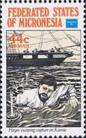 """[Airmail - International Stamp Exhibition """"Ameripex 86"""" - Chicago, USA - Bully Hayes, Buccaneer, type BH]"""