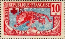 [Red Cross Charity - No.5 Overprinted in Paris, type E]