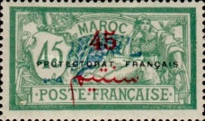 """[French Post in Morocco Postage Stamps Overprinted """"PRETECTORAT FRANCAIS"""", type A12]"""