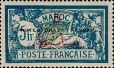 """[French Post in Morocco Postage Stamps Overprinted """"PRETECTORAT FRANCAIS"""", type A16]"""