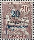 """[French Post in Morocco Postage Stamps Overprinted """"PROTECTORAT FRANCAIS"""", type A6]"""
