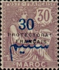 """[French Post in Morocco Postage Stamps Overprinted """"PROTECTORAT FRANCAIS"""", type A9]"""