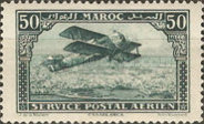[Airmail - Plane over Casablanca - Inscribed MAROC above, POSTAL SERVICE AERIEN below, type AD]