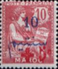 """[French Post in Morocco Stamp Handstamped """"+ 5c"""", type C]"""