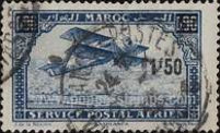 [Airmail - Plane over Casablanca - Issues of 1922 Surcharged, type CD]