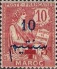 """[French Post in Morocco Overprinted """"+ 5c"""", type I]"""