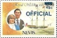 [Royal Wedding, Prince Charles and Lady Diana  - Nevis Postage Stamps of 1981 Surcharged, Typ C]