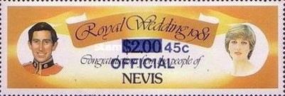 [Royal Wedding, Prince Charles and Lady Diana  - Nevis Postage Stamps of 1981 Surcharged, Typ C1]