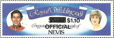 [Royal Wedding, Prince Charles and Lady Diana  - Nevis Postage Stamps of 1981 Surcharged, Typ C5]