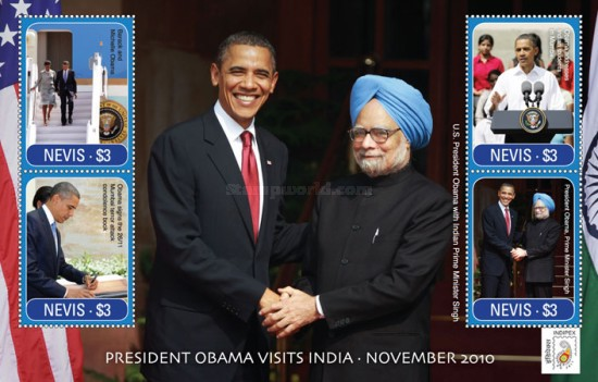 [International Stamp Exhibition INDIPEX 2011, New Delhi - Barack Obama Visits India, Typ ]