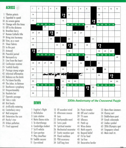 [The 100th Anniversary of the Crossweord Puzzle, Typ ]
