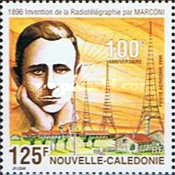 [Airmail - The 20th Anniversary of New Caledonia's First Earth Station - The 100th Anniversary of the Invention of the Telegraph by Gugliegmo Marconi, Typ ACC]