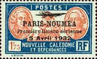 [Airmail - The 1st Anniversary of Paris-Noumea Flight, type U15]