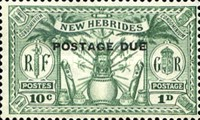 "[New Hebrides Postage Stamps of 1925 Overprinted ""POSTAGE DUE"" - French and British Currency on Stamps, type A]"