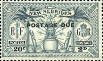 "[New Hebrides Postage Stamps of 1925 Overprinted ""POSTAGE DUE"" - French and British Currency on Stamps, type A1]"