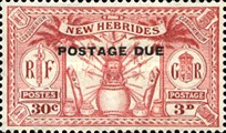 "[New Hebrides Postage Stamps of 1925 Overprinted ""POSTAGE DUE"" - French and British Currency on Stamps, type A2]"