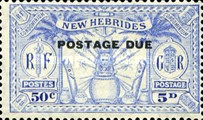 "[New Hebrides Postage Stamps of 1925 Overprinted ""POSTAGE DUE"" - French and British Currency on Stamps, type A3]"