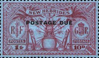 "[New Hebrides Postage Stamps of 1925 Overprinted ""POSTAGE DUE"" - French and British Currency on Stamps, type A4]"