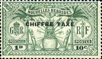 "[New Hebrides Postage Stamps of 1925 Overprinted ""CHIFFRE TAXE"" - French and British Currency on Stamps, type B]"