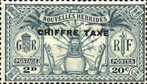 "[New Hebrides Postage Stamps of 1925 Overprinted ""CHIFFRE TAXE"" - French and British Currency on Stamps, type B1]"