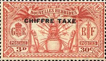 "[New Hebrides Postage Stamps of 1925 Overprinted ""CHIFFRE TAXE"" - French and British Currency on Stamps, type B2]"