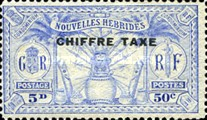 "[New Hebrides Postage Stamps of 1925 Overprinted ""CHIFFRE TAXE"" - French and British Currency on Stamps, type B3]"