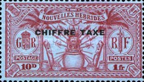 "[New Hebrides Postage Stamps of 1925 Overprinted ""CHIFFRE TAXE"" - French and British Currency on Stamps, type B4]"