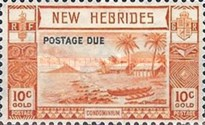 """[New Hebrides Postage Stamps of 1938 - English Version Overprinted """"POSTAGE DUE"""", type C1]"""