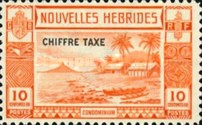 "[New Hebrides Postage Stamps of 1938 - French Version Overprinted ""CHIFFRE TAXE"""", type D1]"
