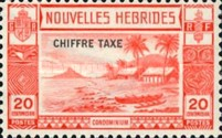 "[New Hebrides Postage Stamps of 1938 - French Version Overprinted ""CHIFFRE TAXE"""", type D2]"