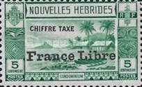 """[New Hebrides Postage Due Stamps of 1938 with Additional Overprint """"France Libre"""", type E]"""