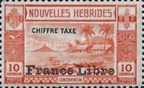 """[New Hebrides Postage Due Stamps of 1938 with Additional Overprint """"France Libre"""", type E1]"""