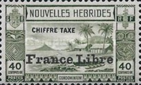 """[New Hebrides Postage Due Stamps of 1938 with Additional Overprint """"France Libre"""", type E3]"""