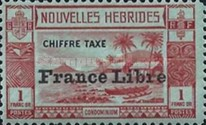 """[New Hebrides Postage Due Stamps of 1938 with Additional Overprint """"France Libre"""", type E4]"""
