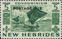 """[New Hebrides Postage Stamps of 1953 - English Version Overprinted """"POSTAGE DUE"""", type F]"""