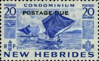 """[New Hebrides Postage Stamps of 1953 - English Version Overprinted """"POSTAGE DUE"""", type F2]"""